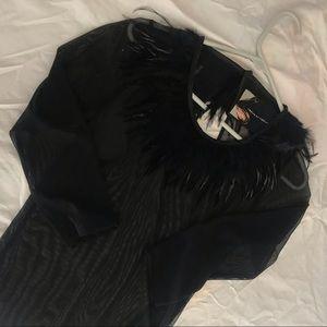 Dresses & Skirts - Feather Neckline Sheer Mesh Mini Dress